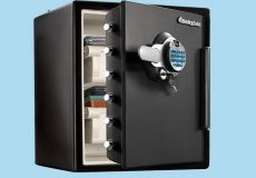 Armored metal safes full of money and guns
